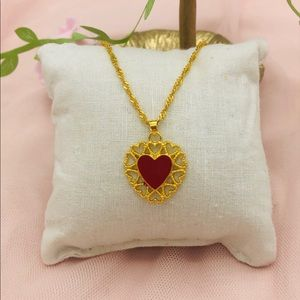Red heart ♥️ pendant with necklace jewelry